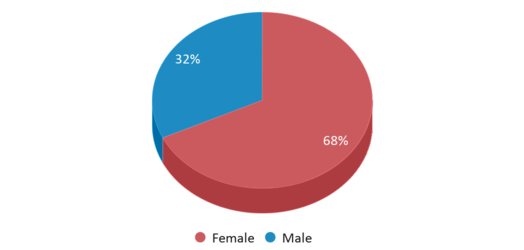 This chart display gender of Wadleigh Performing And Visual Arts