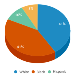 This chart display the percentage breakdown of students of all ethnic groups in Martin T Krueger Middle School.