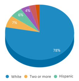 This chart display the percentage breakdown of students of all ethnic groups in Hillcrest Elementary - 04.